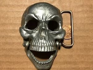 Great American Buckle. 3 D. Skull with hinged jaw. Well detailed. Made in USA