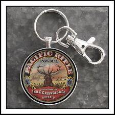 Vintage Tin Gunpowder Label Photo Keychain Pacific Rifle Powder Buffalo NY Elk