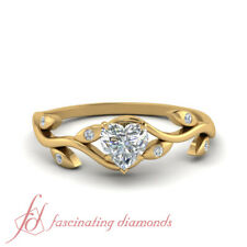 1/2 Carat Heart Shaped Diamond Branch Design Engagement Ring In 18K Yellow Gold