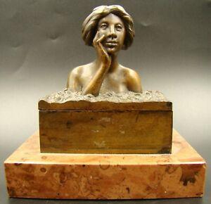 Austria Vienna Bronze & Marble Art Nouveau Maiden Bust Miniature Figural Inkwell
