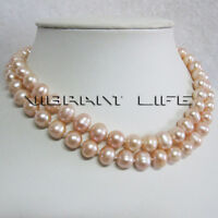 "32"" 8-10mm Peach Pink Freshwater Pearl Necklace Strand Jewelry U"