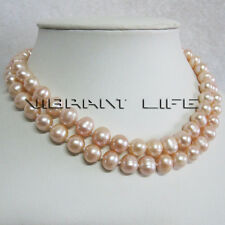 """32"""" 8-10mm Peach Pink Freshwater Pearl Necklace Strand Jewelry U"""
