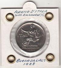 BUONO  LIRE 1 BUONO VITTORIO EMANUELE III 1928 Italia Seduta NICHELIO SUPERBA