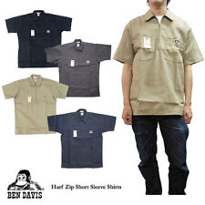 Ben Davis Shirt Short Sleeve 60% Cotton 40% Polyester All Color 1/4 Zip
