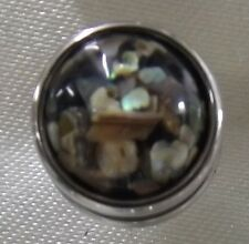 Black With Opal Chip Coloured Shell Raised 12mm Noosa Style Snap Button Chunk