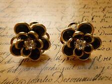 Elegant Gold Black Crystal Flower Garden Layer Jewellery Stud Earrings