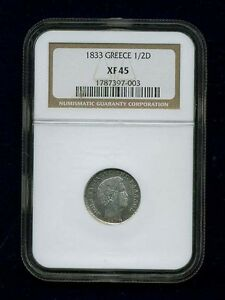 GREECE  OTTO OF BAVARIA  1833  1/2 DRACHMA SILVER COIN, NGC CERTIFIED XF45