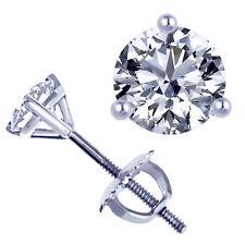 0.43 Carat G/H-VS1 Round Cut Diamond Martini Stud Earrings 14k White Gold