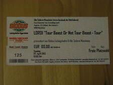 Lordi Beast or not Tour Beast Ticket Karte Alte Seilerei Mannheim 07.04.2013