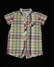 EUC Ralph Lauren Boys Green Blue & Red Plaid Poplin Cotton Romper 6 Months