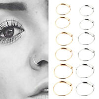 2pcs Steel Nose Ring Septum Clicker Hinge Segment Ear Helix Tragus Ring Hoop
