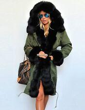 donne di inverno pelliccia giacca con cappuccio lungo parka cappotto militare AA