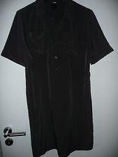 H&M Kleid Tunika Gr. M anthrazit Kurzarm Hemdkleid Minikleid