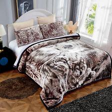 "Animal Print Blanket Comfy Plush Traditional Floral Border Bedding Sheet 79""x91"""