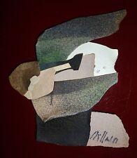 Gilou Brillant collage de papiers découpés et peints signée art abstrait