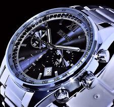 Analog Uhr Herrenuhr Armbanduhr Chronograph Datum Schwarz Silber Farbe SKM4