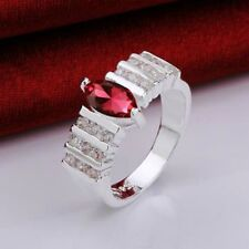 Zirconia Fashion Ring Size: 7 Women's Red and Clear Cubic