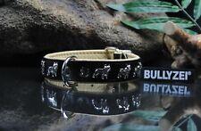 Halsband Französische Bulldogge Leder SCHWARZ-NATUR 50cm x 3cm, french bulldog