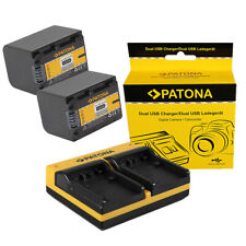 2x Batteria Patona + caricabatteria USB dual per Sony HDR-CX550VE,HDR-CX560