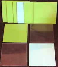 ELLO MEDIUM SIZE SQUARE PANELS x 10. GREEN / BLUE / CLEAR.  UK DISPATCH