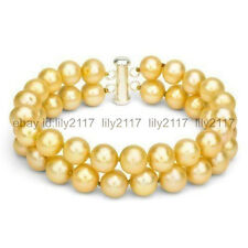 Aaa 2 Row 7.5Inch 8-9Mm Genuine South Sea Golden Pearl Bracelet 14k