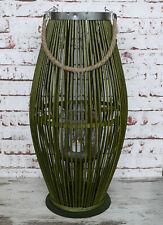 XXL Laterne Bambus 60cm groß Bambuslaterne Holz grün konisch Windlicht Asia NEU
