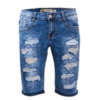 Bermuda uomo jeans corto denim strappato pantaloncini con strappi casual N389