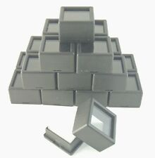 "20PCS- 1-1/16x3/4"" Black Glass Top Gem Box storage/display gold/gem/coin silver"