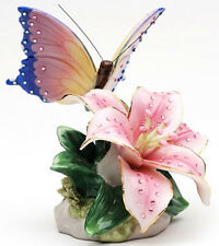 ♫ New MUSIC BOX Porcelain Pink BUTTERFLY LILY Musical Figurine BLING Flower