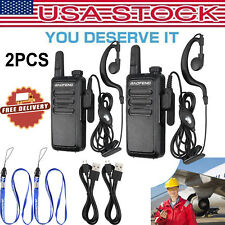 2Pcs Baofeng Walkie Talkie 16 Channel Uhf 400-470Mhz Two Way Radio with Earpiece