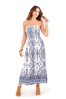 Ladies/Womens Summer Beach Sun Round Neck Maxi Dress Blue/Red Size 8-22 NEW
