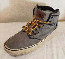 Vans Men 12 Classic Black Gray Canvas Sk8 Skate High Tops Shoes Sneakers Lace Up