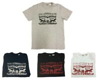 Levi's Mens 2 Horse Pull Logo Solid Crewneck Short Sleeve Graphic Tee T-Shirt