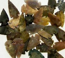 "25 HAND KNAPPED STONE AGATE & JASPER ARROWHEADS FOR CRAFTS  1 1/4"" to 2"" SIZE"