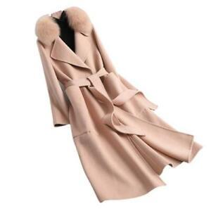 Women Luxury Fox Fur Collar Wool Coat Bodywarmer Winter Mid Long Outwear Party L