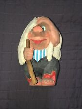 VTG Henning Norway Carved Wood Wooden Troll Doll Carving Woman Walking Stick 6.5