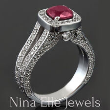 Antique Style Red Ruby Ring With Diamonds Split Shank