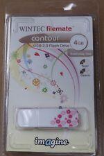 WINTEC Filemate Imagine Contour 4GB USB 2.0 Flash Drive White/Magenta NEW