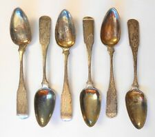 """Set of 6 John Lynch Baltimore Coin Silver 5.25"""" Teaspoons Late 1700s Early 1800s"""