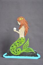 Redhead Little  Mermaid Colorful Wooden  Puzzle Amish Scroll Toy  New Decoration