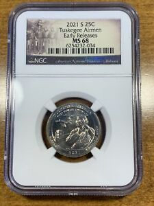 2021-S 25c Tuskegee Airmen Quarter NGC MS68 Early Releases