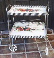 Vintage 50s rockabilly-carrito de ruedas carro flores motivo tablero carro ~ 50er