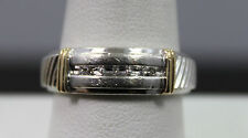 Gents Sterling & 14k Yellow Gold 5 Diamond Ring Size 10