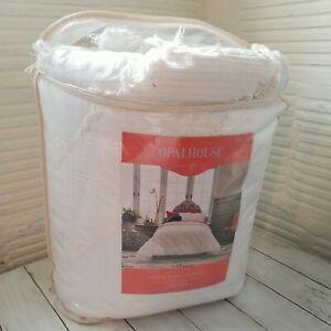 NEW 2pc OPALHOUSE Diagonal Comforter & Sham Set White TWIN XL