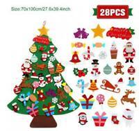 28pcs Kids DIY Felt Christmas Tree with Ornaments Xmas Gift Wall Hanging Decor