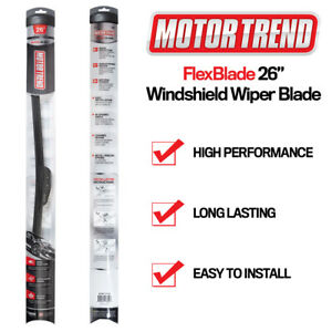 "Windshield Wiper Blades Motor Trend 26"" All Season Bracketless J-HOOK- Single PC"