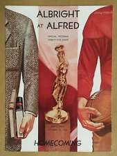 ALBRIGHT (PA) @ ALFRED (PA) COLLEGE FOOTBALL PROGRAM - 1954 - EX