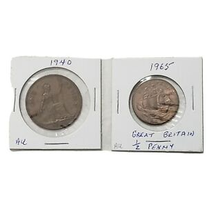 1940 Great Britain One 1965 Half Penny Coin England United Kingdom