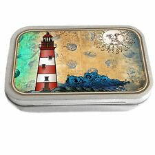 Lighthouse Design Slim Hinged 1oz Tin Tobacco Storage Pill Box Fishing Jewellery