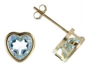9CT YELLOW GOLD 6MM HEART REAL BLUE TOPAZ STUD EARRINGS BIRTHSTONE NOVEMBER BOX